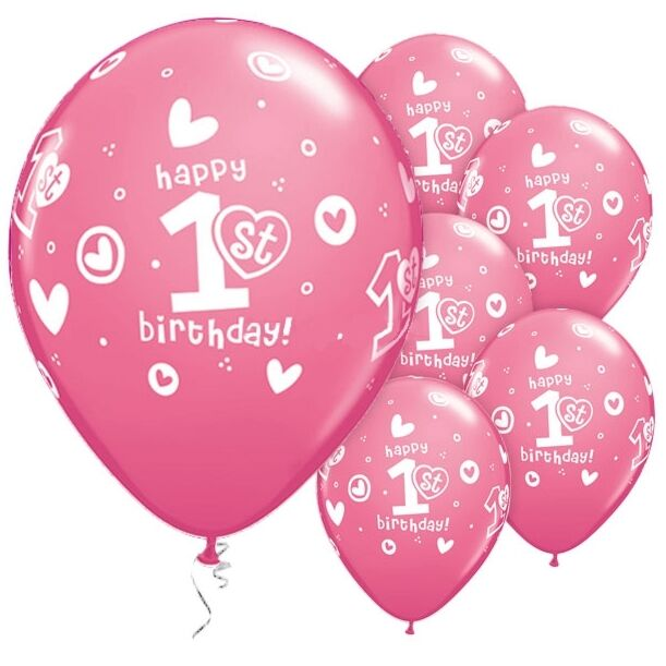 Qualatex 1st Birthday Hearts Girl Pink Latex Balloons Pack Of 25 For Sale Online