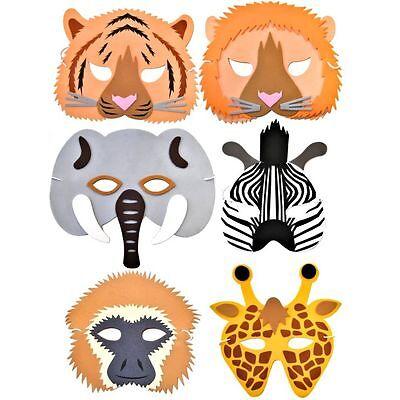 12 Rainforest / Safari Animal Foam Masks -by Blue Frog Toys - Childrens - Jungle