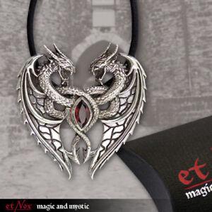 Echt-etNox-Dragon-039-s-Heart-Anhaenger-Silber-Gothic-Schmuck-NEU