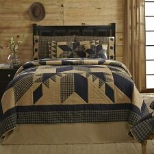 DAKOTA STAR King Quilt Black/Khaki Primitive Country Lodge Rustic Patchwork