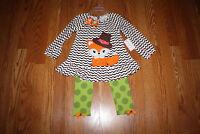 Girls Emily Rose Brown White Orange Fox Dress Shirt 2 Piece Set Size 4