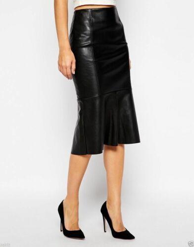 Damen Echt Lammleder Premium Qualität Leder unter Knie Bleistift Modisch Skirt