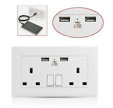 5 X USB DOUBLE WALL SOCKET 13 AMP UK PLUG 2 GANG SWITCH ELECTRIC CHARGER POWER