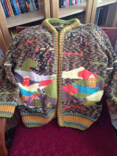adulti lana per mano 0 fatto Maglione a di islandese cardigan lana wPOO01