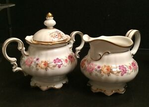 Hutschenreuther-Selb-Bavaria-Germany-US-Zone-Creamer-and-Sugar-Bowl