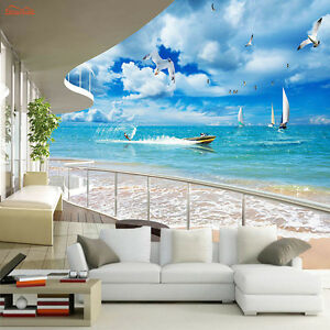 Balcony sea view wallpaper holiday mural rolls for wall 3d for Balcony view wallpaper