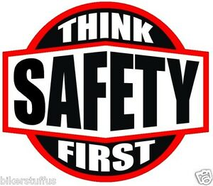 think safety first hard hat sticker black on white and red hard hat