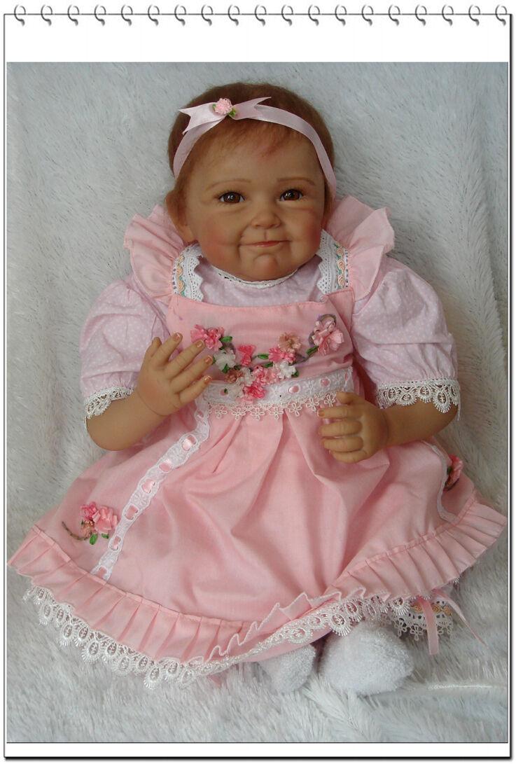 22 in (approx. 55.88 cm). 55 55 55 cm Nicery Reborn Bebé Muñeco Blando Juguete de niña de silicona de Simulación Flor rosadododo  ventas calientes