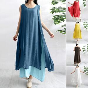 Mode-Femme-Plage-Bohemienne-Oversize-Sans-Manche-Dress-Maxi-Long-Robe-Loisir
