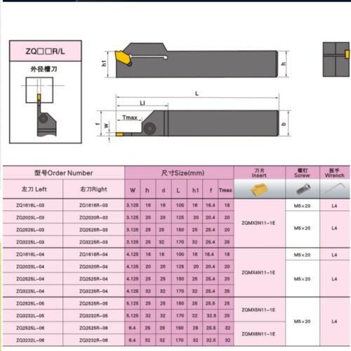 ZQ2525R-03 25*25mm External Grooving Holder Cut-Off Slotting Cutter 3mm SP300