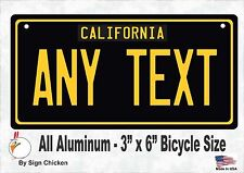 California Black, Personalized Custom License Plate with border BICYCLE 3 X 6
