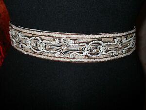 Fab-Coldwater-Creek-Taupe-Brown-Beige-Beaded-Embellished-Satin-Sash-Belt-Large