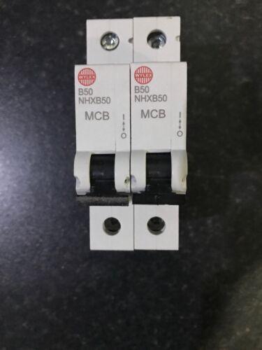 WYLEX NHXB50-50A Type B Single Pole MCB X2