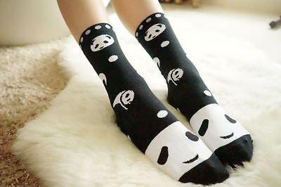Cute Women Sweet Girl Panda Cotton Stokcking Ankle-High Sock Black & Red