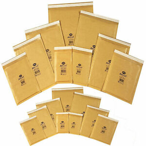 Small / Large Gold Padded Bubble Wrap Lite Air Mail Envelopes Strong Eco Bags