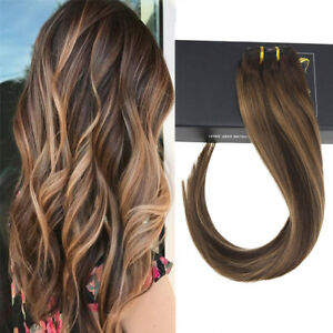Clip-in-Skin-Weft-Remy-Human-Hair-Extensions-Balayage-Dark-Brown-Caramel-Blonde