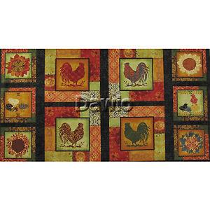 poules coq style maison de campagne panel 10 images patchwork d coration tissu 60x110cm. Black Bedroom Furniture Sets. Home Design Ideas