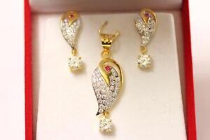 22ct916 2 tones indian gold pendant set with matching earrings image is loading 22ct 916 2 tones indian gold pendant set aloadofball Gallery