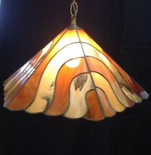 Vintage Swag Hanging Lamp Light Acrylic Brown Swirl 6 Sided Mid Century Retro