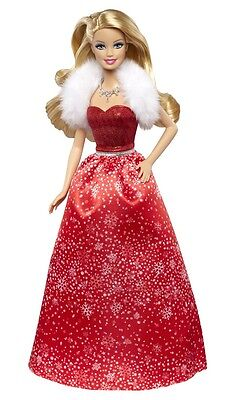 2014 Happy Holiday Wishes Barbie Ccp45 Red Dress In