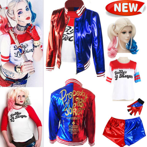 Suicide Squad Harley Quinn Cosplay Costume T-shirt Coat Jacket Party Festivals