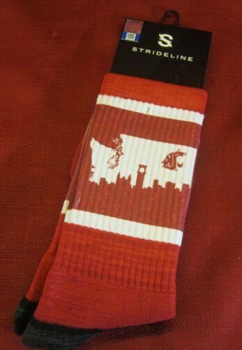 Red Crew Socks WASHINGTON STATE UNIVERSITY WSU Cougars Campus STRIDELINE