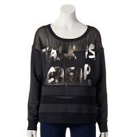 Rock & Republic Sweatshirt Women's Small Black Scuba Talk Is Cheap