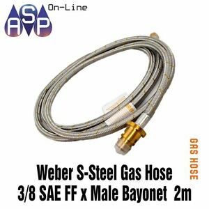 Weber-Q-Stainless-Steel-Braided-Gas-hose-3-8-039-039-SAE-FF-x-Male-Bayonet-x-2000mm
