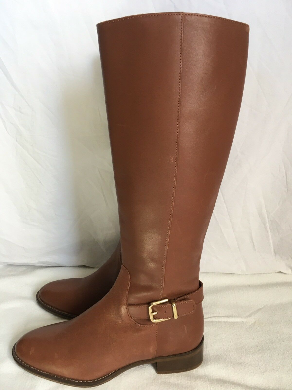 J. Crew Lowell Buckle Mid Calf Leather Boots Kindling Brown size 7.5  348  A9829
