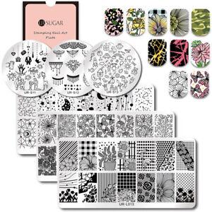 Detalles De Ur Sugar Placas De Estampado De Uñas Arte De Uñas Plantillas Nail Stamping Plate