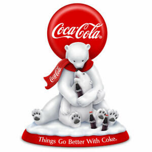 Coca-Cola Lying On Back Polar Bear Resin Figurine Drinking a Coke