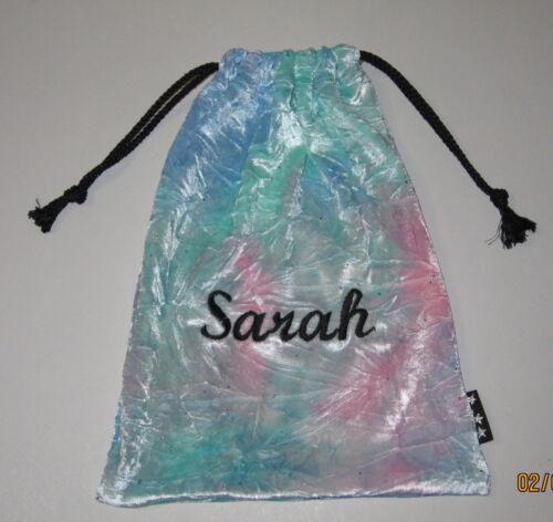 Personalised tye dye velvet gift pouch gymnastics grips bag 21cmx28cm CHOICE