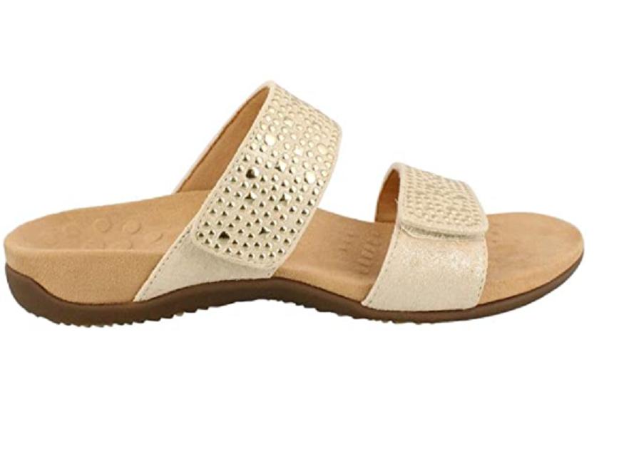 Vionic Womens Samoa Slide Sandal Gold