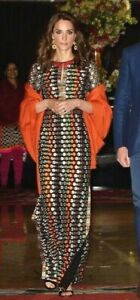 New-NWT-Tory-Burch-Floral-Mesh-Embroidered-ASO-Royal-Long-Gown-Dress-UK-10-US-6