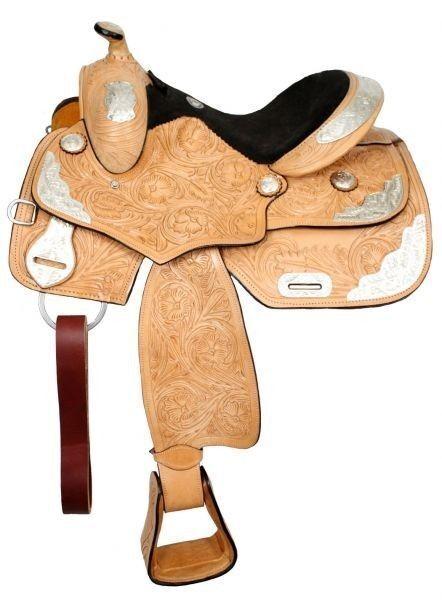 Fully tooled Double T youth show saddle.14