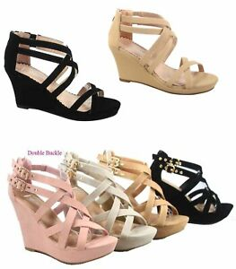 Women-039-s-Zipper-Strappy-Ankly-Strap-Buckles-Wedge-Sandal-Shoes-Size-5-10-NEW