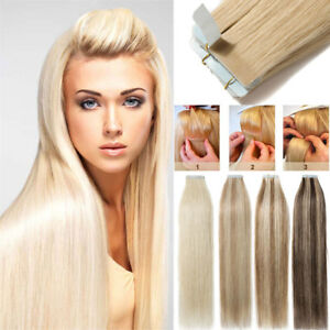 New-Extra-THICK-Tape-In-Remy-Real-Human-Hair-Extensions-Full-Head-Skin-Weft-UK