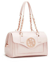 NWT GUESS Enamel Quatro G Logo Box Satchel Handbag Satchel Purse Pink
