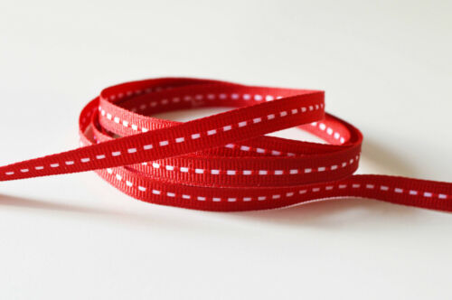 Stitched Grosgrain Ribbon narrow 7mm Grey Red Pink Vintage Shabby Chic Style