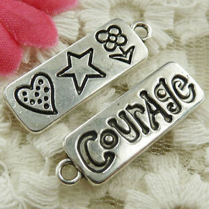#4658 Free Ship 90 pcs Antique silver Courage charms 30x10mm