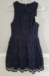 7c140d8a640e Image is loading ASOS-Navy-Blue-Lace-Skater-Dress-Sleeveless-Open-