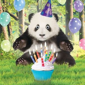 Birthday Card Happy Birthday Cute Panda Cupcake Goggly 3d Moving