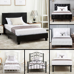 Twin-Size-Metal-Bed-Frame-Upholstered-Headboard-Platform-Kids-Bedroom-Furniture