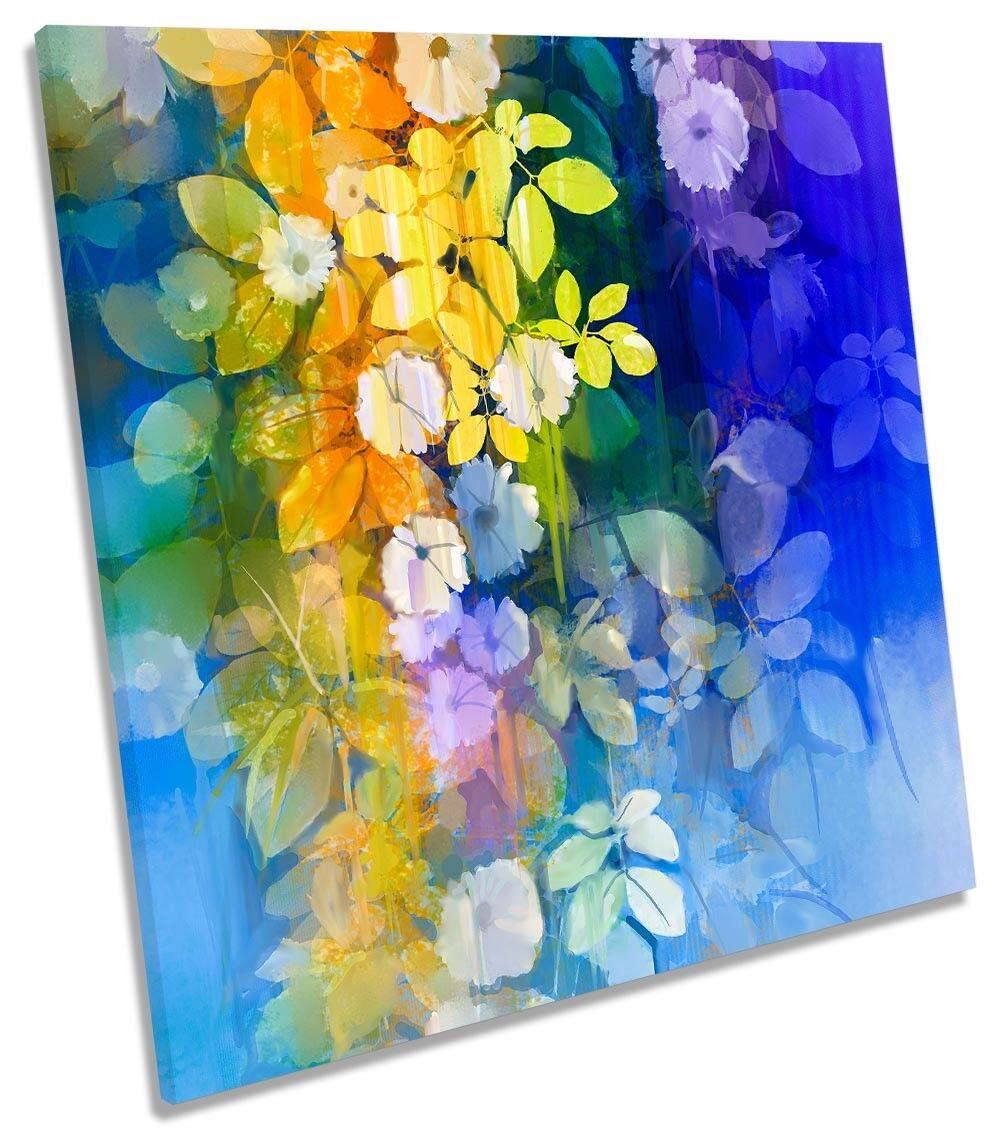 Blau Flowers Gelb Floral CANVAS WALL ARTWORK Square Art Print