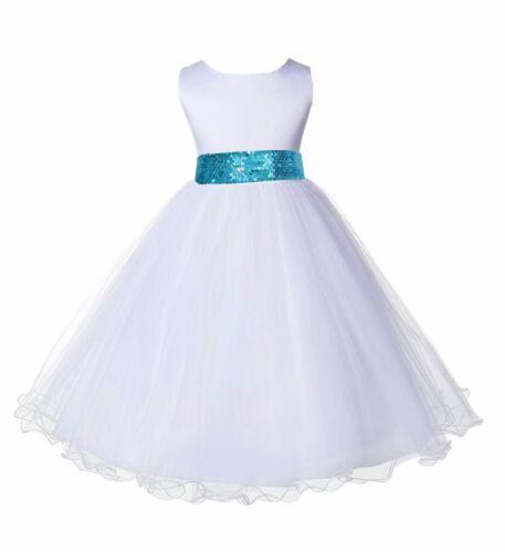WHITE WEDDING FLOWER GIRL DRESS MESH SASH HOLIDAYS EASTER 12-18M 2 3 4 6 8 10 12