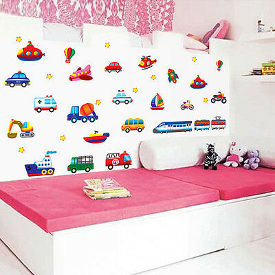 Cartoon Car Aircraft Ship DIY Vinyl Wall Stickers For Kids Rooms Home Decor Gift