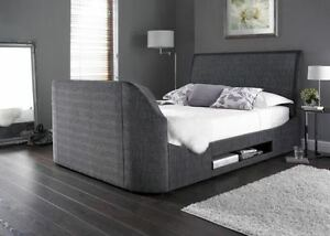 Maximus Charcoal Fabric King Size Tv Bed Made By Kaydian Ebay
