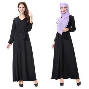 Muslim-Kaftan-Abaya-Islamic-Women-Long-Sleeve-Cocktail-Maxi-Vintage-Dress-Black