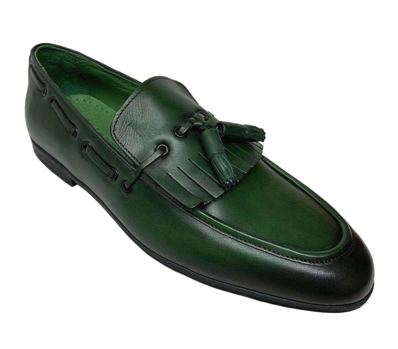 Zapatos de vestir sigotto hombres Para hombres de cuero antideslizante en verde con borlas 3429