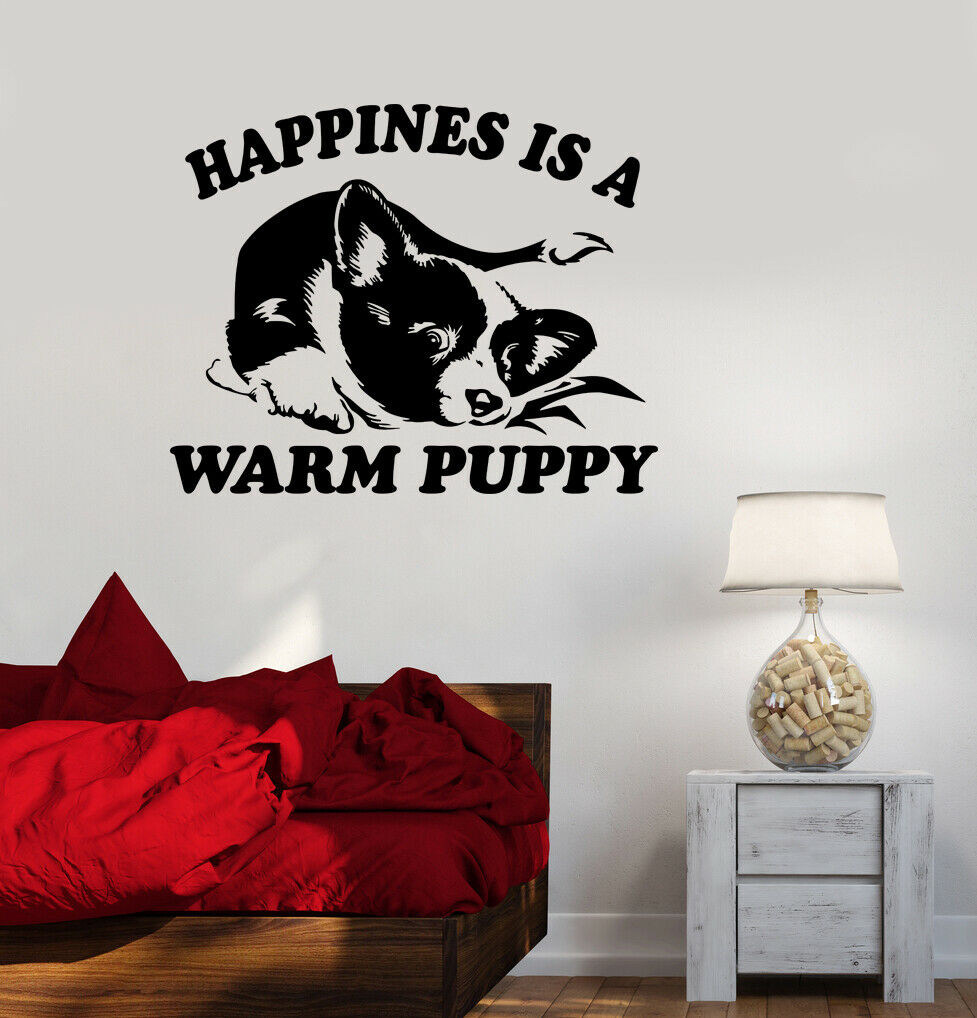 Wall Decal Pet Dog Cute Puppy Words Phrase Happiness Vinyl Sticker (ed1599)
